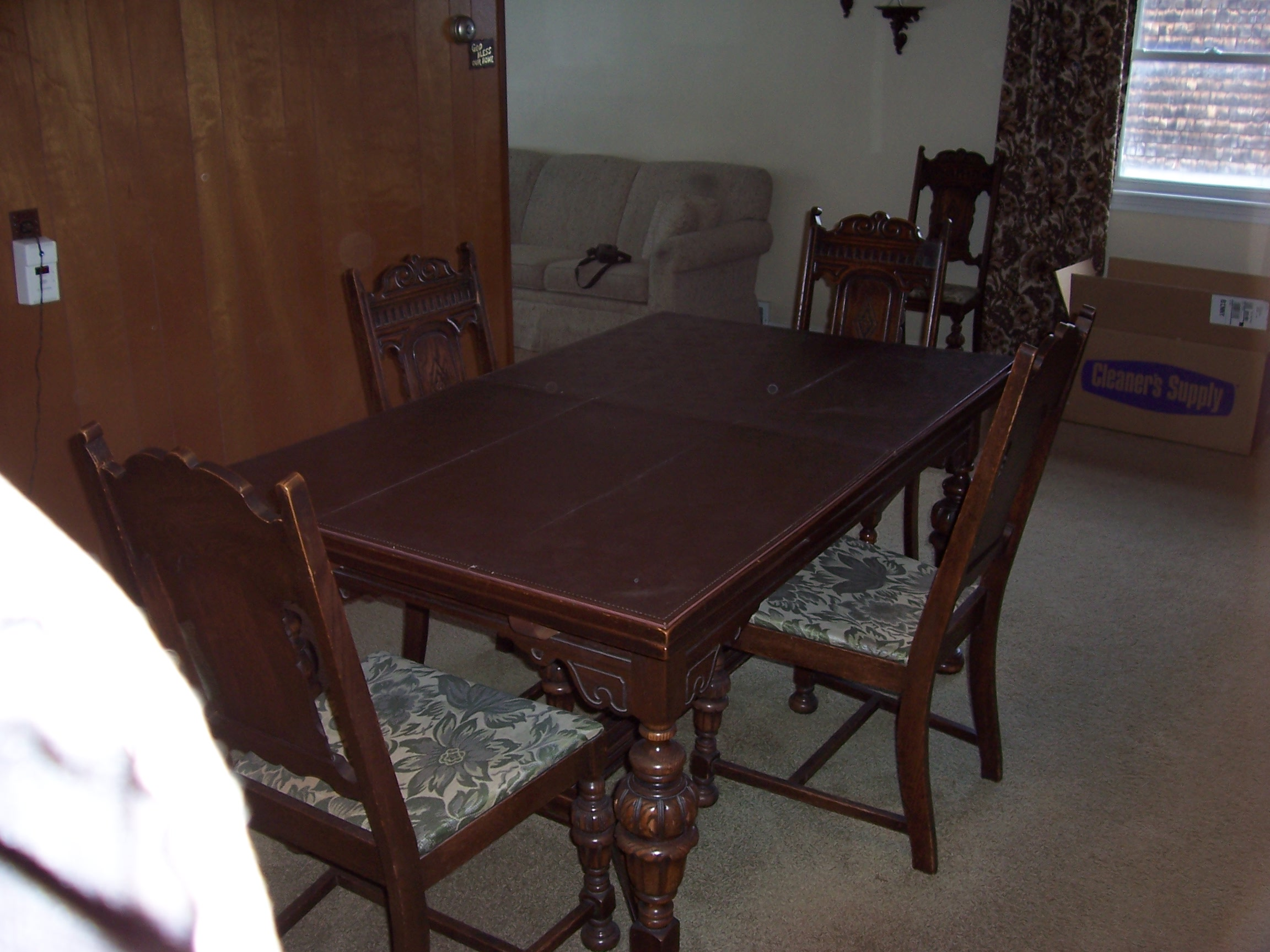 60 Year Old Dining Room Set Antique Dark Oak Carved